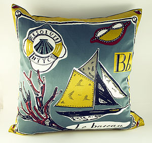 Le Bateau Silk Cushion - bedroom