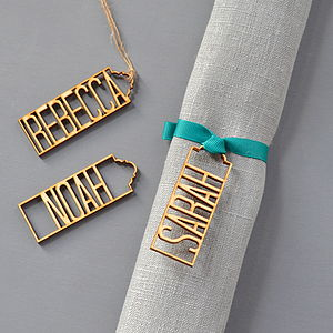 Wooden Name Place Settings - table decoration