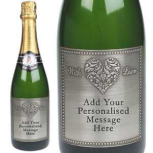 With Love Personalised Champagne With Pewter Label