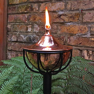 Copper Bowl Oil Burning Garden Torch - lights & lanterns