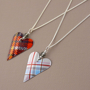 Tartan Heart And Crystal Pendant