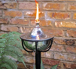 Steel Bowl Oil Burning Garden Torch - lights & lanterns