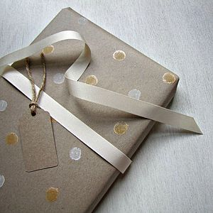 Spotty Hand Printed Wrapping Paper - ribbon & wrap