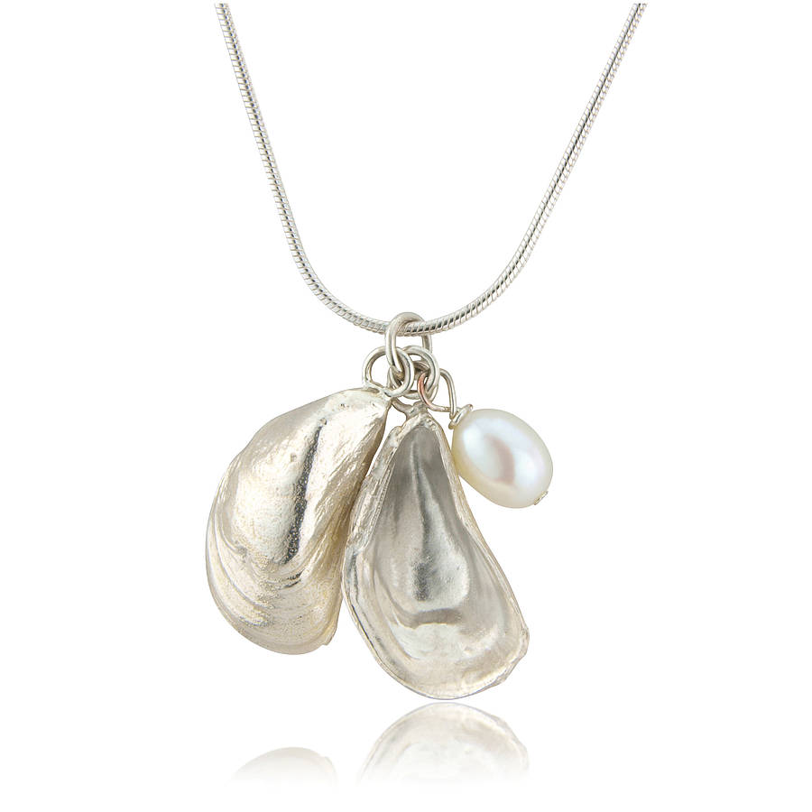 Silver and pearl mussel shell pendant by argent of london silver and pearl mussel shell pendant aloadofball Choice Image