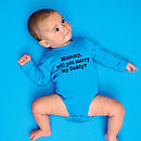 Personalised 'Will You Marry…'  Aqua Blue Babygrow