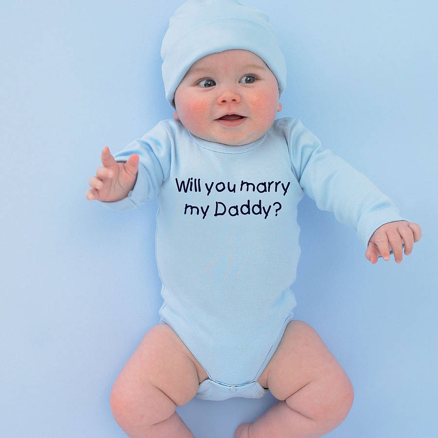 610977c77 personalised  will you marry…  babygrow by simply colors ...