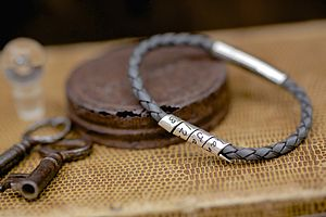 Charcoal Slim Open Scroll Mens Bracelet - birthday gifts