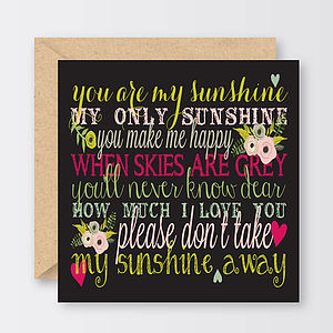 'You Are My Sunshine' Valentine's Card
