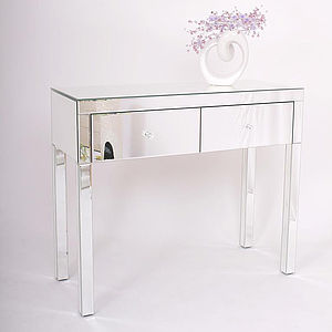 Two Drawer Dressing Table In Mirrored Or Black - dressing tables