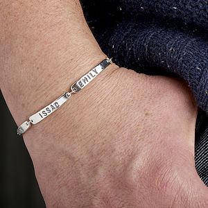 Silver Personalised Men's Family Tag Bracelet - bracelets