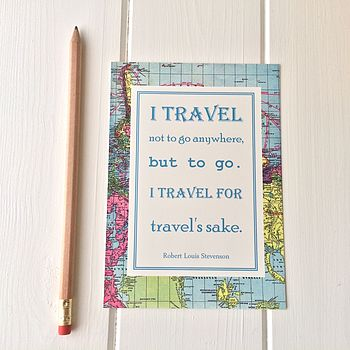 Vintage Map Travel Quote Postcard