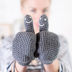 Hidden Smiley Face Mittens - women's accessories