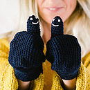 Navy Blue Smiley Face Mittens