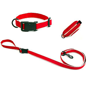 Reflective Dog Collar, Lead And Pouch Set - dogs