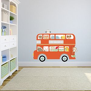 All Aboard Bus Fabric Wall Sticker - wall stickers