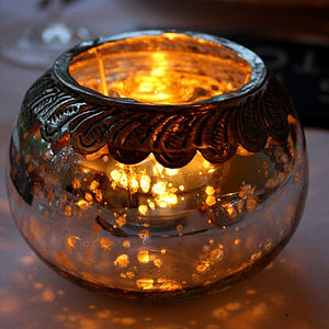 Antiqued Silver Tealight Holder - tableware