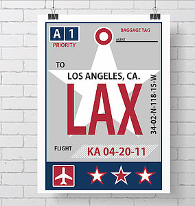 Personalised Retro Baggage Tag Print Star