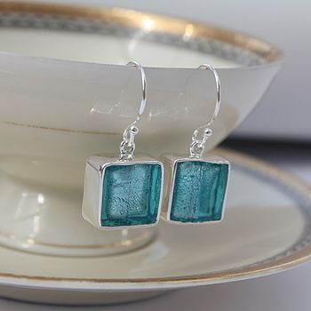 Murano Glass Square Drop Silver Earrings - Aqua Blue