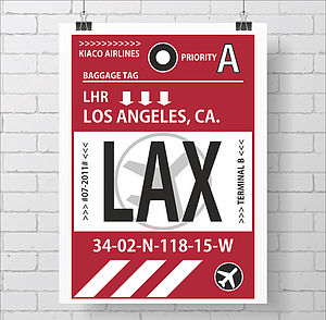 Personalised Retro Baggage Tag Print