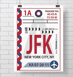 Personalised Retro Baggage Tag Print A