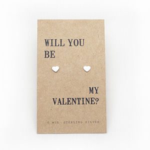 'Be My Valentine' Silver Earrings