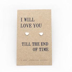 'I Will Love You' Silver Heart Earrings