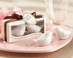 'Lovebirds' Ceramic Salt And Pepper Shakers - salt & pepper pots