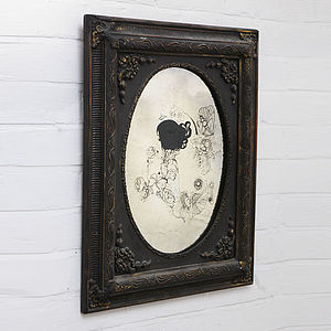 Antique Glass Illustrated Mirror