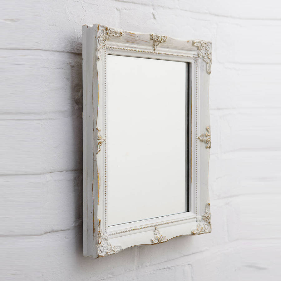 Swept vintage style mirror by hand crafted mirrors for Small white framed mirrors