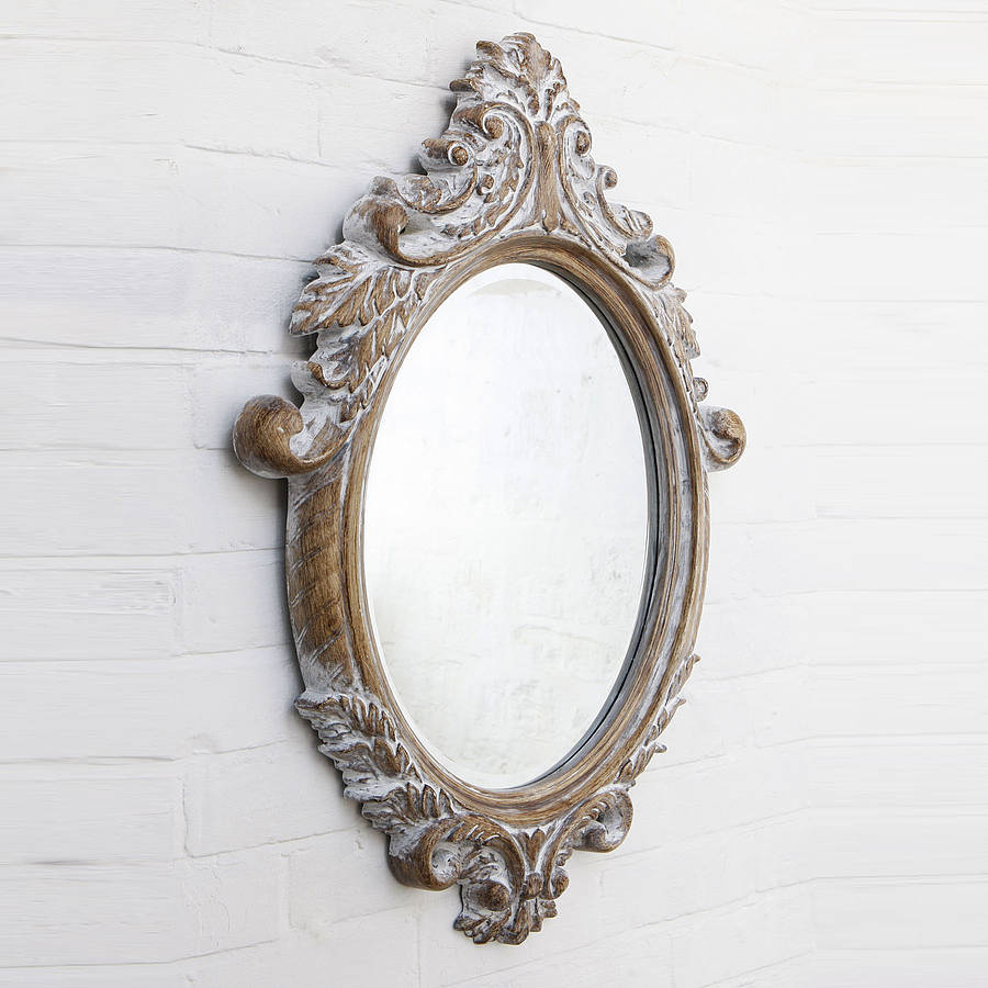 Oval bevelled ornate mirror by hand crafted mirrors for Espejos de madera vintage