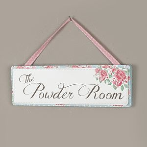 Vintage Rose Bathroom Powder Room Hanging Sign