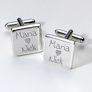 Personalised Heart Valentines Day Cufflinks