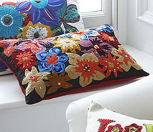 Flowers Embroidered Cushion - bedroom