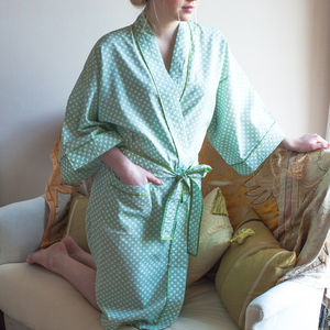 Cotton Kimono Dressing Gown Lettuce Spotty Dotty