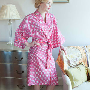 Cotton Kimono Dressing Gown Watermelon Spotty Dotty - fashion sale