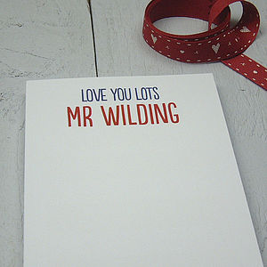 Personalised 'Love You Lots' Notepad - gifts for him