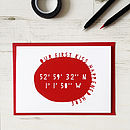 Personalised Geo Coordinates Anniversary Card