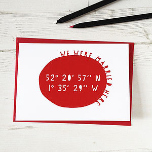 Personalised Geo Coordinates Anniversary Card - wedding, engagement & anniversary cards