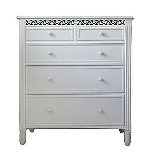 Large Fretwork Chest Of Drawers - furniture