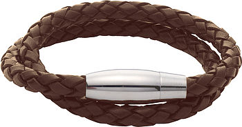 Men's Double Plaited Leather Bracelet