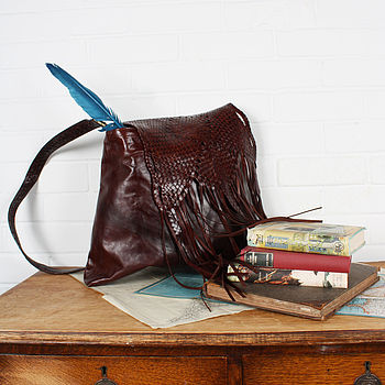 Leather Arizona Fringe Cross Body Bag