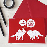 Horny Dinosaurs Rude Valentines Card - cards