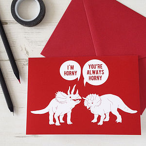 Horny Dinosaurs Rude Valentines Card - seasonal cards