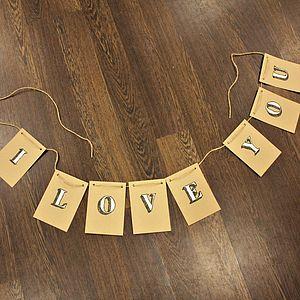 'I Love You' Wedding Day Bunting