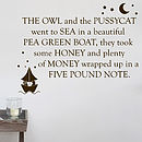 The Owl And The Pussycat Wall Sticker