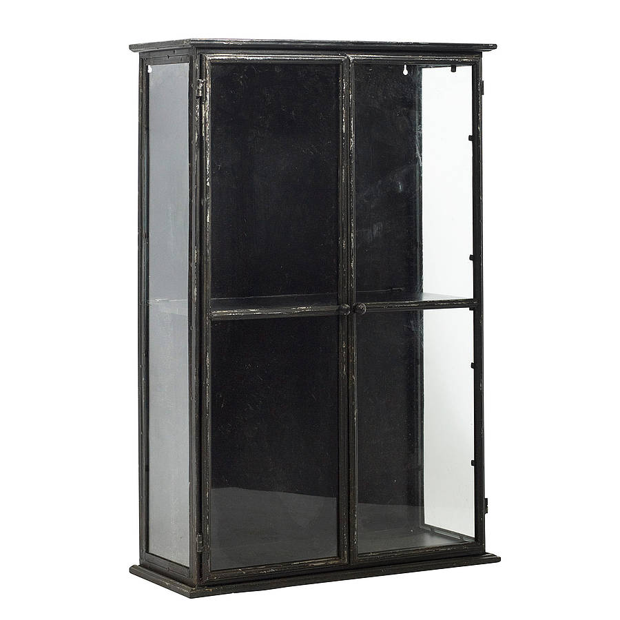 distressed industrial glass display cabinet