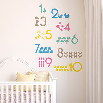 One To Ten Nursery Numbers Wall Sticker