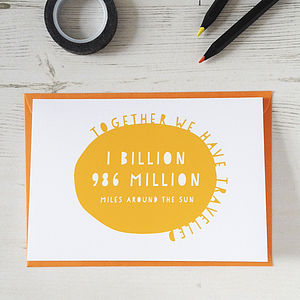 Personalised Sun Miles Anniversary Card - wedding cards