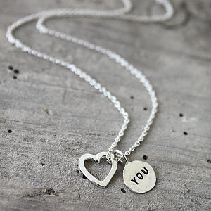Personalised Heart And Tag Charm Necklace