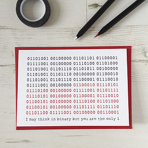 You're The Only One Binary Valentines Card - cards sent direct